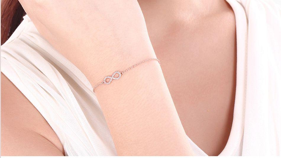 Mnwt zircão rosa de ouro / pulseiras de prata 8 infinito pulseira europeia e americana popular pulseira presente das mulheres simples jóias