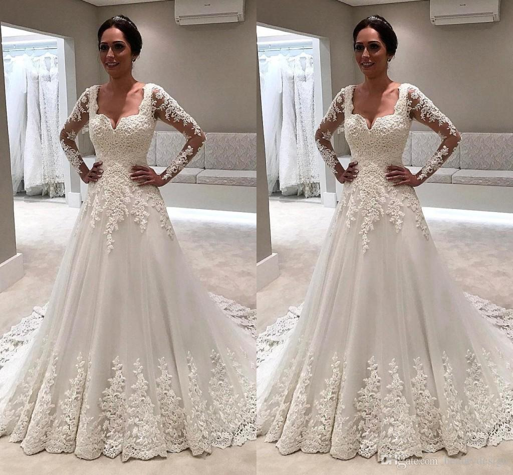 1d46f413915 Discount 2018 Summer Gorgeous Square Neck Lace A Line Wedding Dresses Lace  Appliqued Long Sleeves Sweep Train Wedding Bridal Gowns BA9338 Simple  Classic ...