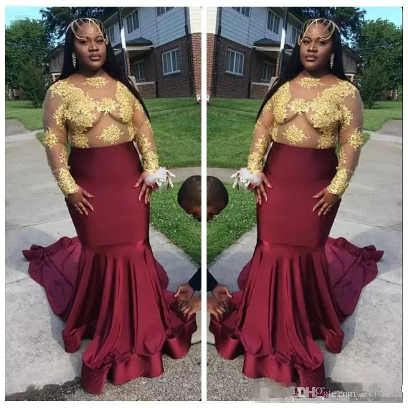 2018 African Burgundy Jewel Neck Lace Appliqued Mermaid Prom Dresses With Gold Long Sleeves Plus Size Evening Dress Party Gown Cutom Made