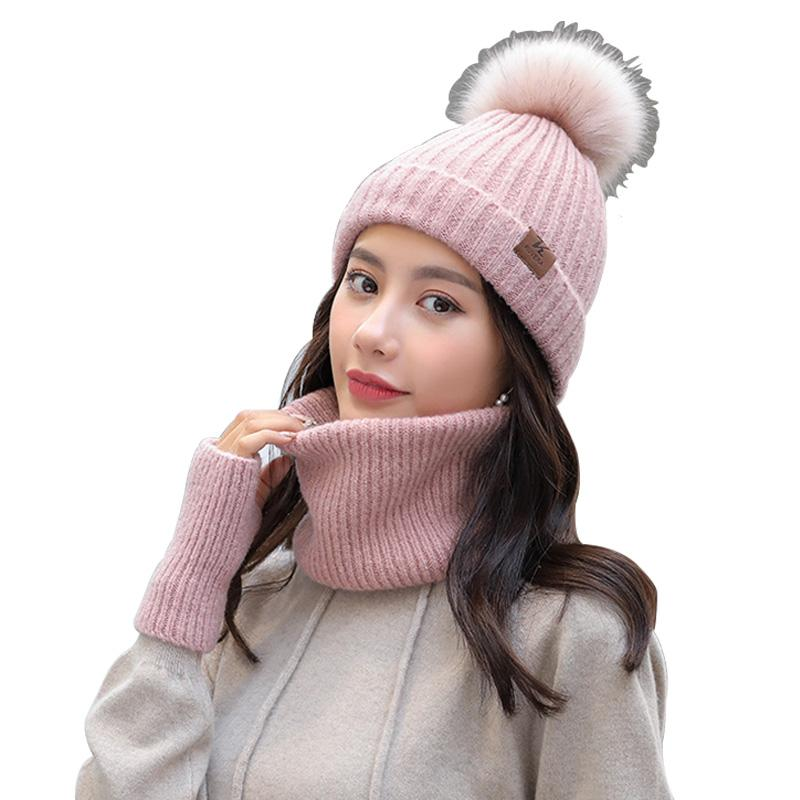 bebfeee804a1e 2019 Winter Hat Scarf And Gloves Set Cute Faux Fur Pompom Beanie Infinity  Scarf Gloves Women Knit Cap Winter Cold Weather Gift Set From Sisan08