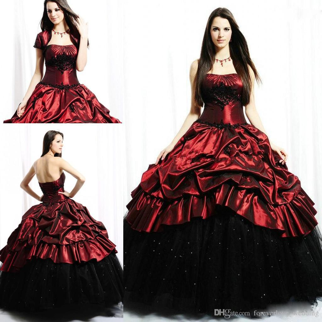 Vintage Red And Black Gothic Corset Ball Gown Prom Dresses With Jacket 2018  Modest Strapless Church Taffeta Ruffles Evening Party Gowns Plus Prom  Dresses ... c5df8dbb5026