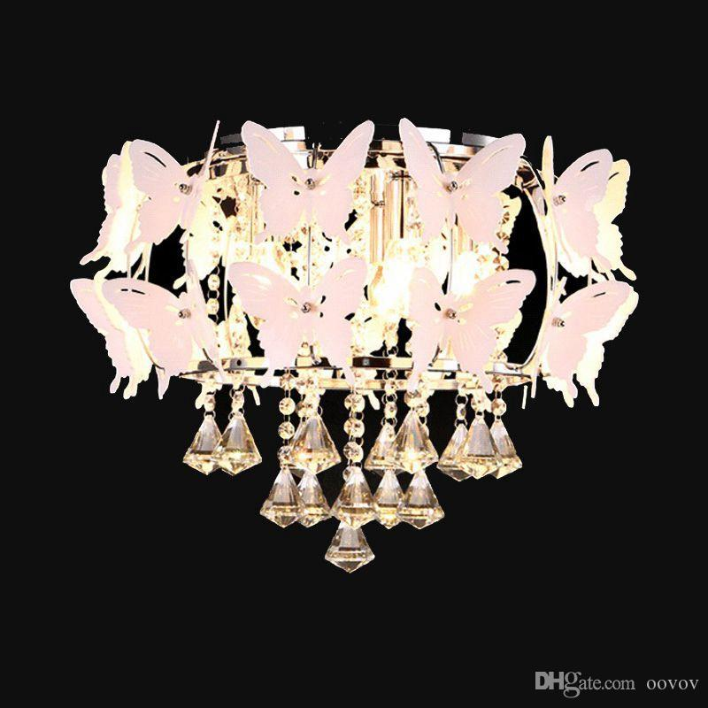 2018 Oovov Romantic Crystal Butterfly Princess Room Ceiling Fixtures ...