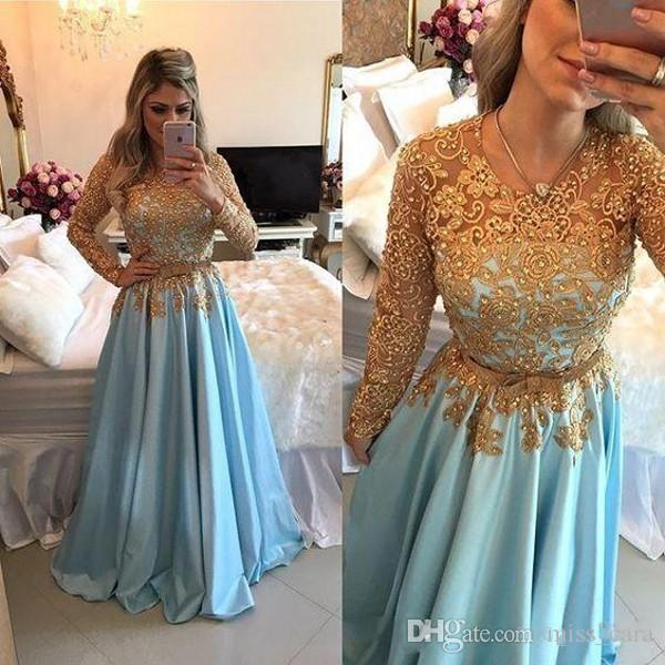 New Light Blue Gold Lace Evening Dresses Long Sleeve Vestidos De Festa  Longo Beaded Belt Middle East Arabic Party Gown Prom Dress 2018 Red Carpet  Prom ... 5dc754dcede3