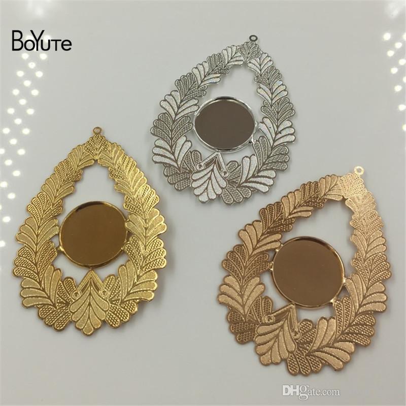 BoyuTe inner 18mm cabochon base bandeja em branco de prata de ouro diy pingente encantos para fazer jóias