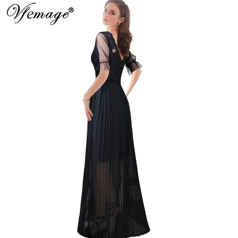 5eda337989c0 Vfemage Women Scalloped Boat Neck Mesh Puff Sleeves Pleated Lace Chiffon  Formal Evening Casual Maxi Long A Line Skater Dress 443 White Dress Woman  Long ...