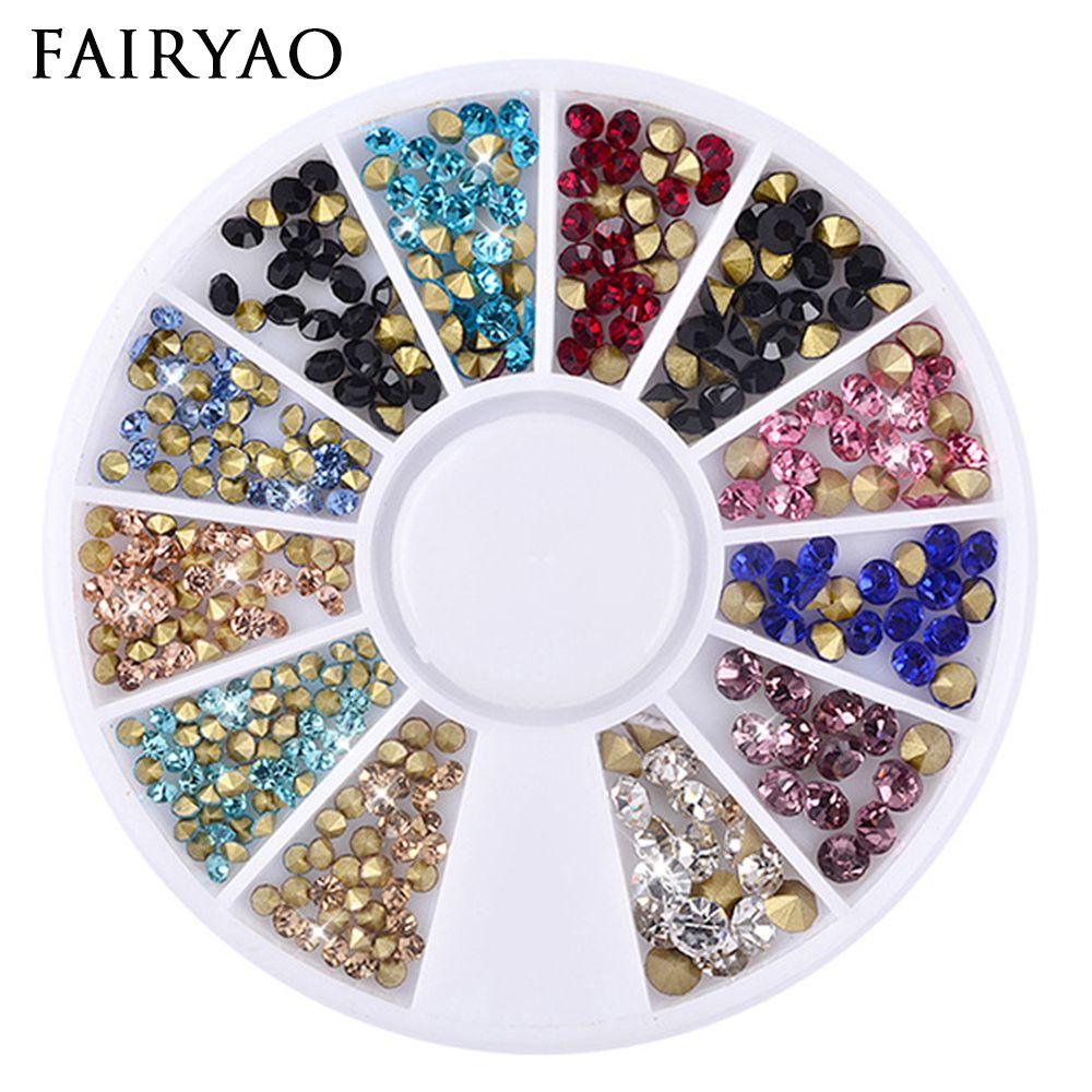 Mixed Glitter Nail Art Wheels Sharp End Crystal Colorful Rhinestones ...