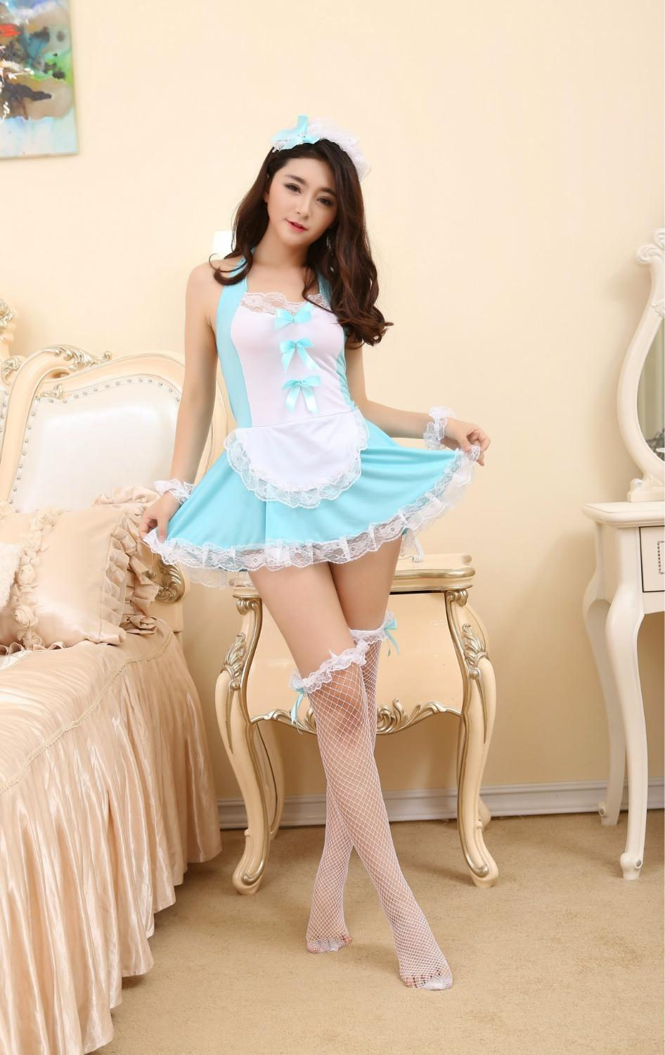 GOYHOZMI Sexy lingerie cosplay maid suit hanging neck lace maid uniforms headwear + dress+ stockings set costumes sexy underwear