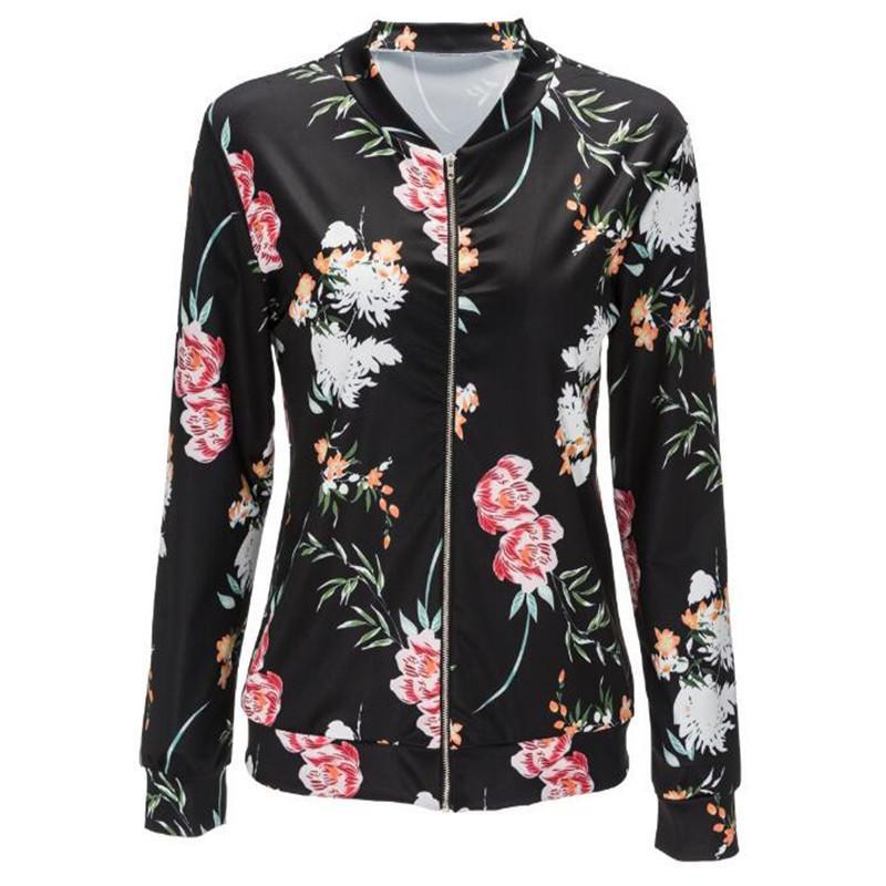 0ec2ba34a Jacket Women Black O Neck Bomber Jacket 2018 Print Floral Black Coat Casual  Zipper Basic Outerwear Coats Jackets Plus Size