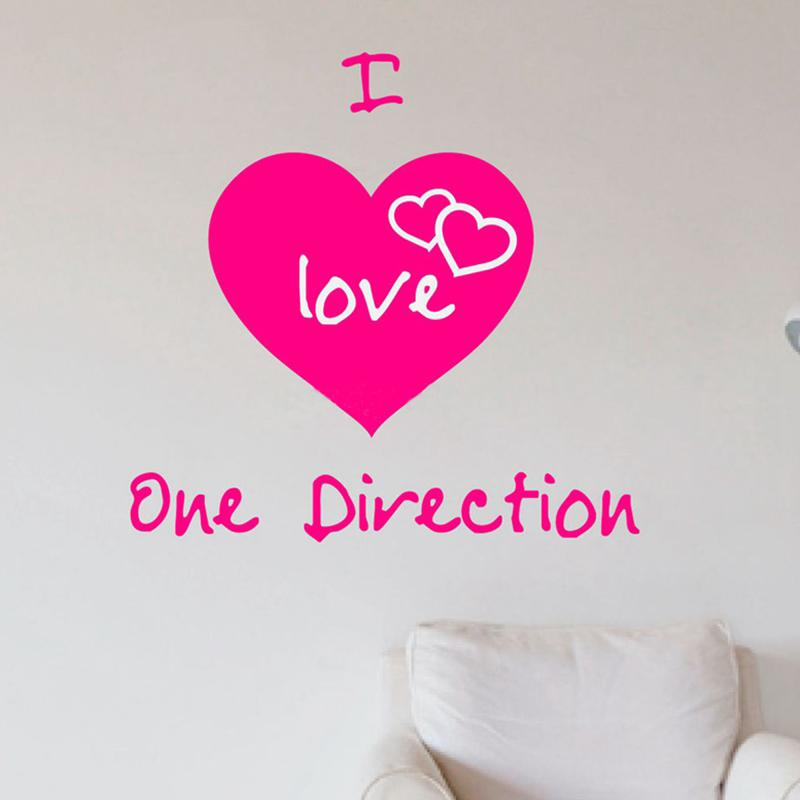 Fashion Wall Stickers I Love One Direction Wall Art Stickers Decals ...