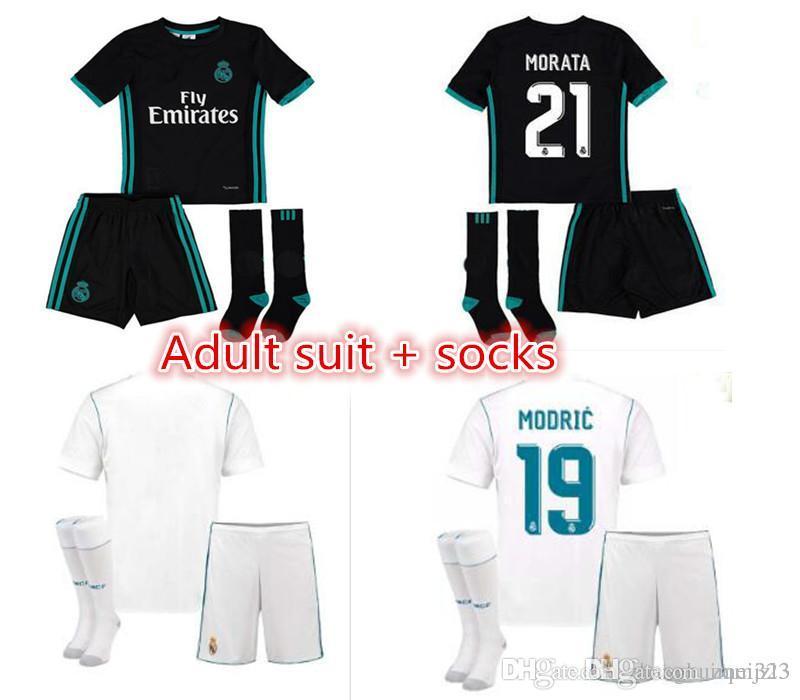 2e024fb650 Compre Top Kits Real Madrid Adulto + Meia 17 18 Camisas De Futebol De Manga  Comprida Em Casa Fora De 2018 Ronaldo James Bale Camisas De Futebol Benzema  ...