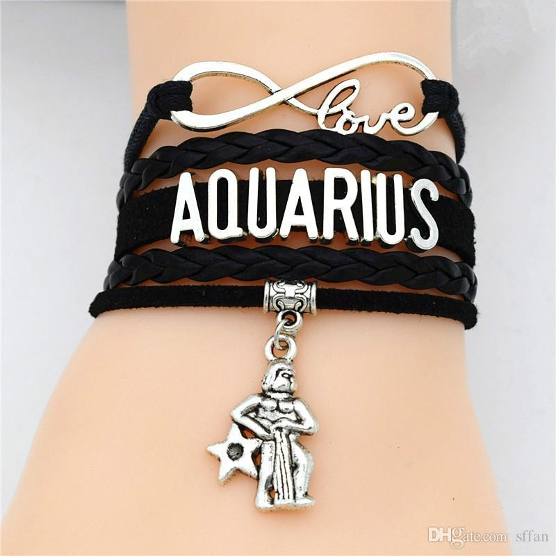 Pulsera de encanto hecho a mano Vintage Infinity Love 12 Constelation Aries / Taurus / Gemini / Cancer / Leo / Virgo / Libra / Scorpio / Piscis Zodiac Sign Brazalets de cuero