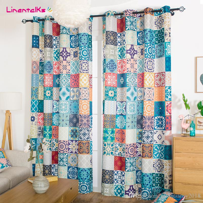 2019 fashion window bedroom curtain morocco geometric style blackout