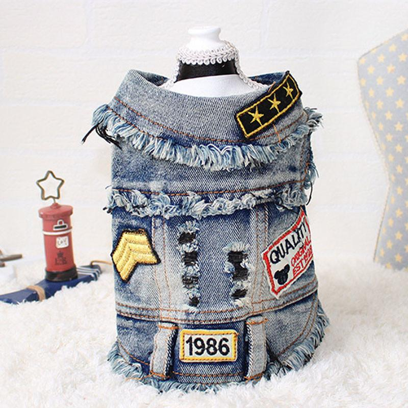 New 2018 pet supplies dog clothes pet coat denim dog clothes XS-2XL denim jacket casual style cool denim vest 1986