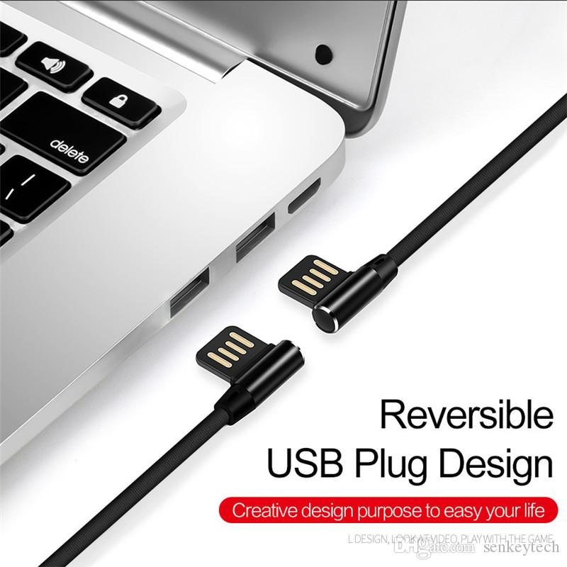 High quality 90 Degree USB Type C Cables 2A Nylon Braided L Bending Type-C Fast Charging Cable For Samsung S9/huawei P9/xiaomi/Pixel 2