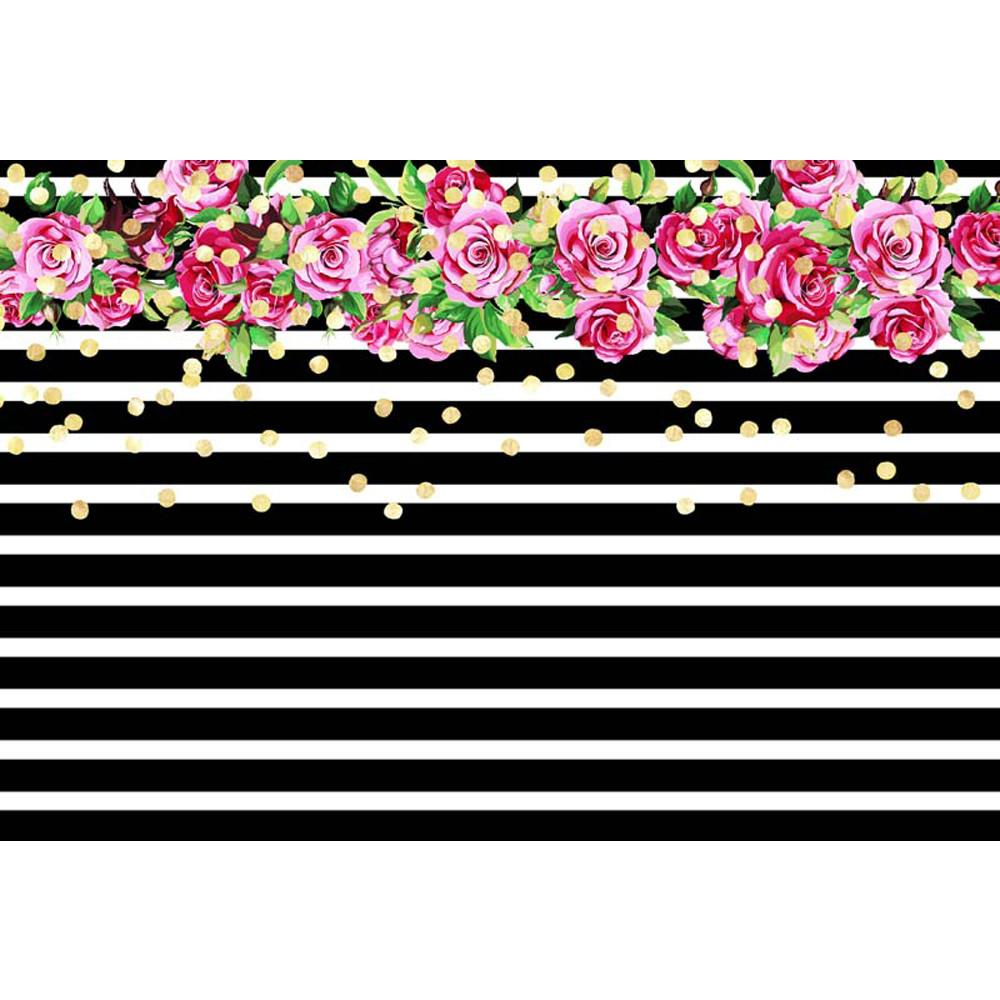 2019 Black And White Striped Princess Girl Birthday Backdrop Printed