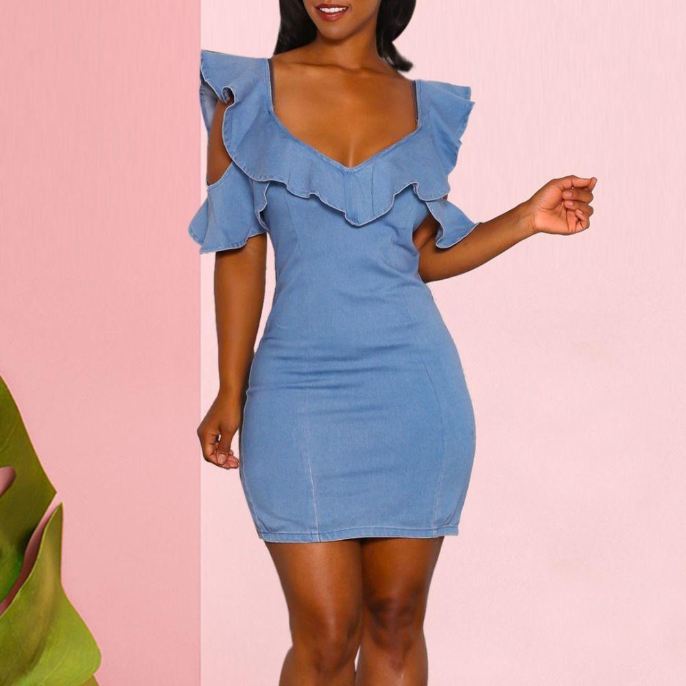 474de2ae90 2018 Estate Moda Donna Vintage 2XL Casual Mini abito blu femminile con  scollo a V e spalle scoperte con cerniera posteriore corto vestito di jeans