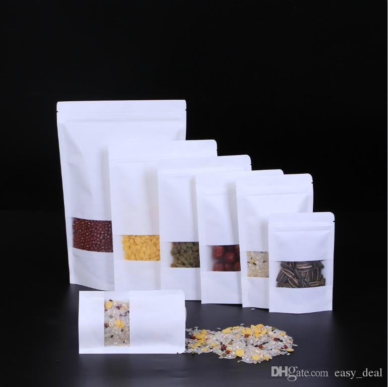 White Kraft paper bags Stand up Pouch With window Kraft small retail bag Food grade Moisture proof For Snack Cookie Beans Candy etc LZ1878