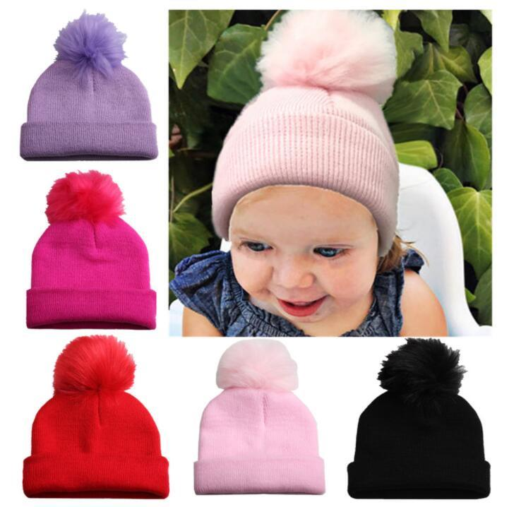 a9245c3ced2d6 Baby Winter Hat Pompom Caps Toddler Boys Girls Knitted Cap Hats Warm Kids  Beanie Knit Hat LJJK1102 Slouchy Beanie Skull Cap From B2b baby