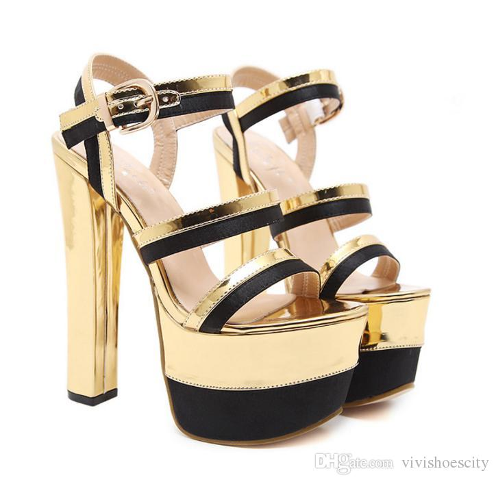 92915db3911 Luxury Gold Black Super High Platform Chunky Heels Prom Shoes 16cm Patent  PU 2018 New Size 35 To 40 Formal Shoes For Men Formal Shoes From  Vivishoescity