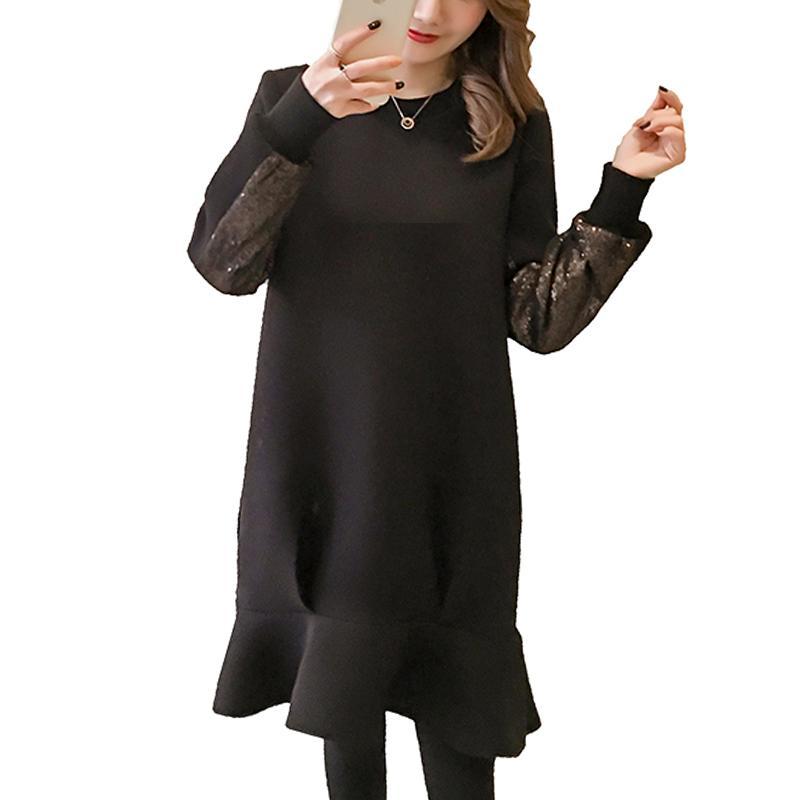 Autumn Sequins Trumpet Dress Plus Size Loose Black Foam Cotton Dresses For Pregnancy  Maternity Fashion Clothes Pregnancy M XXL UK 2019 From Paradise02 c3e437296ef4