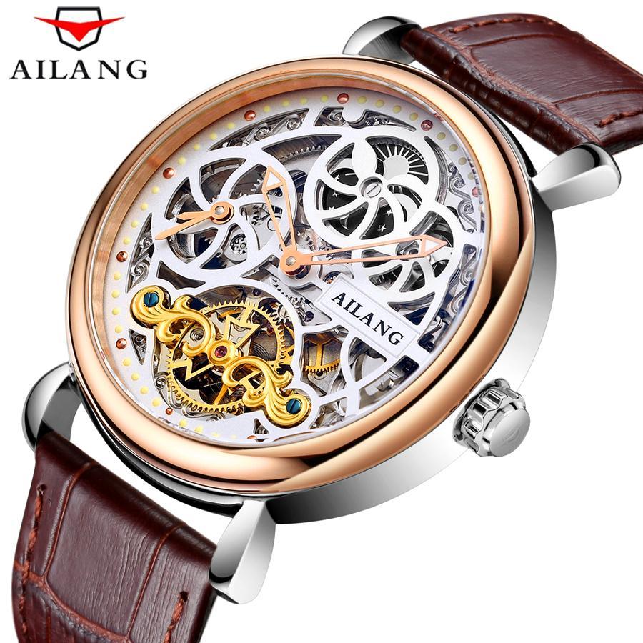 5990aa9c1f22f Satın Al AILANG Mens Saatler Üst Marka Lüks İskelet Saatler Hakiki Deri  Otomatik Makineleri Bilek Adamın Saati Reloj Hombre, $86.83 | DHgate.Com'da