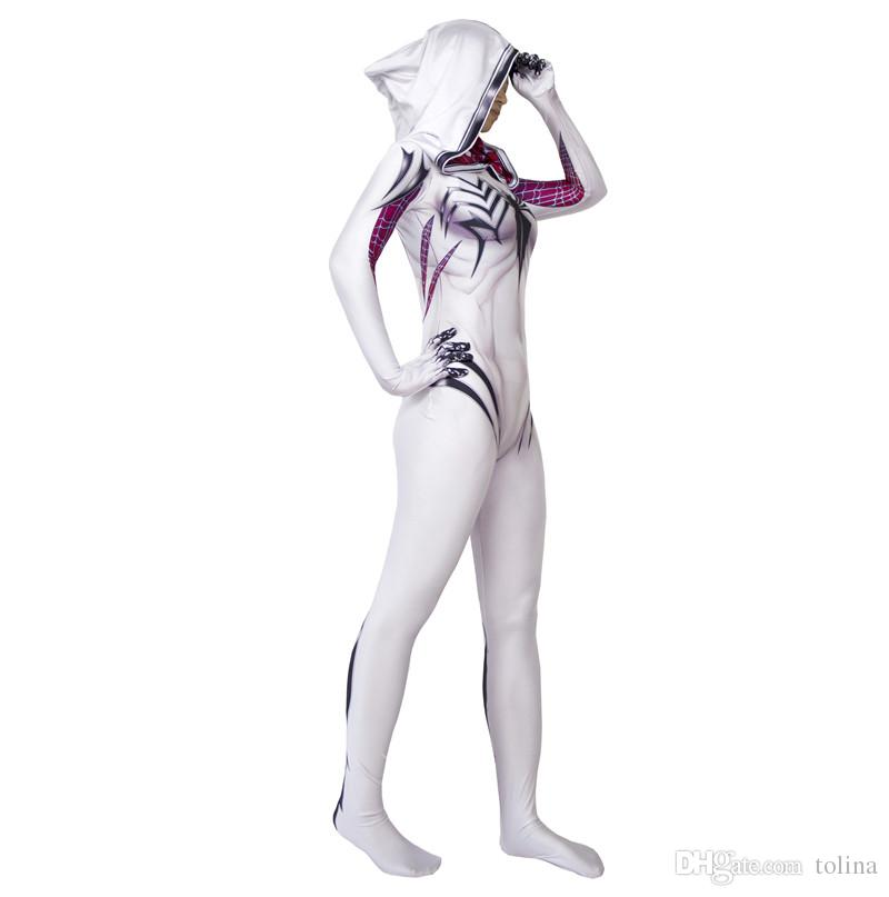 black venom spiderman spider gwen stacy costume cosplay suit halloween costumes for women plus size Spandex Lycra Zentai adult