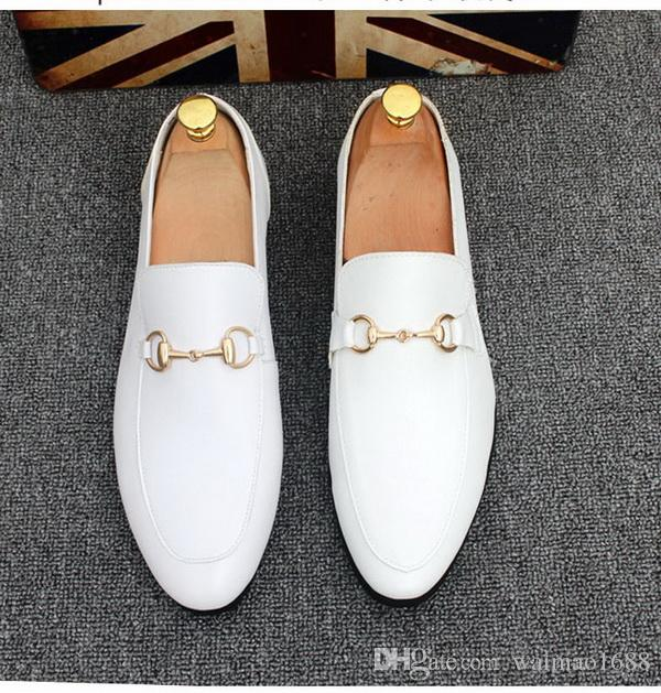Livraison gratuite des chaussures en métal de la marque de boucle en métal des mocassins en cuir véritable. Une conduite britannique Une pédaleTaille 37-44
