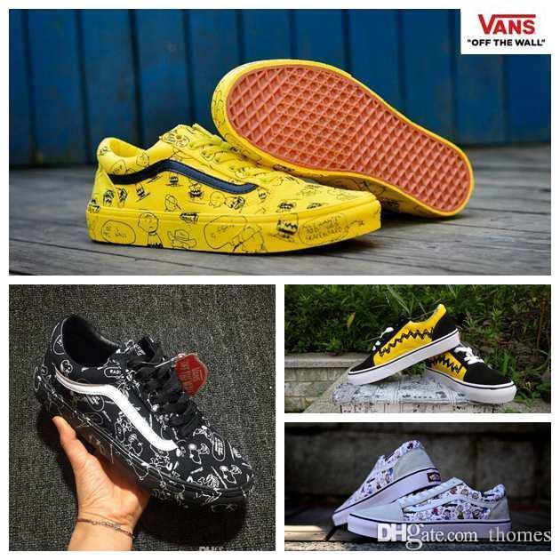 2018 PEANUTS Canvas Shoes Women Mens Snoopy Cartoon Comic Pink Black Yellow  Old Skool High Top Sk8 Hi Casual Sport Sneakers 35 44 Sport Shoes Skechers  Shoes ... 0e20e2d41c1