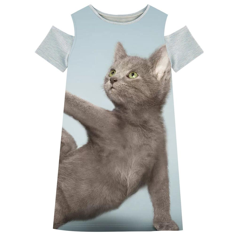 2017 Summer New Hot Girl Dress Off Shoulder straight dress Funny cat photos print Dress Children Clothing 2-10Y