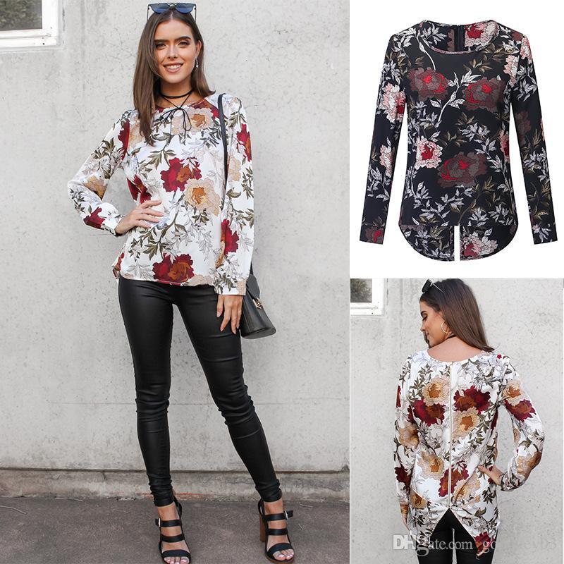 647fa5e82555c 2019 Floral Printed Casual Loose Blouse Shirts Women Back Zipper Female Tops  Long Sleeve Boho Autumn Blouses 2018 Blusa From Goodkey03