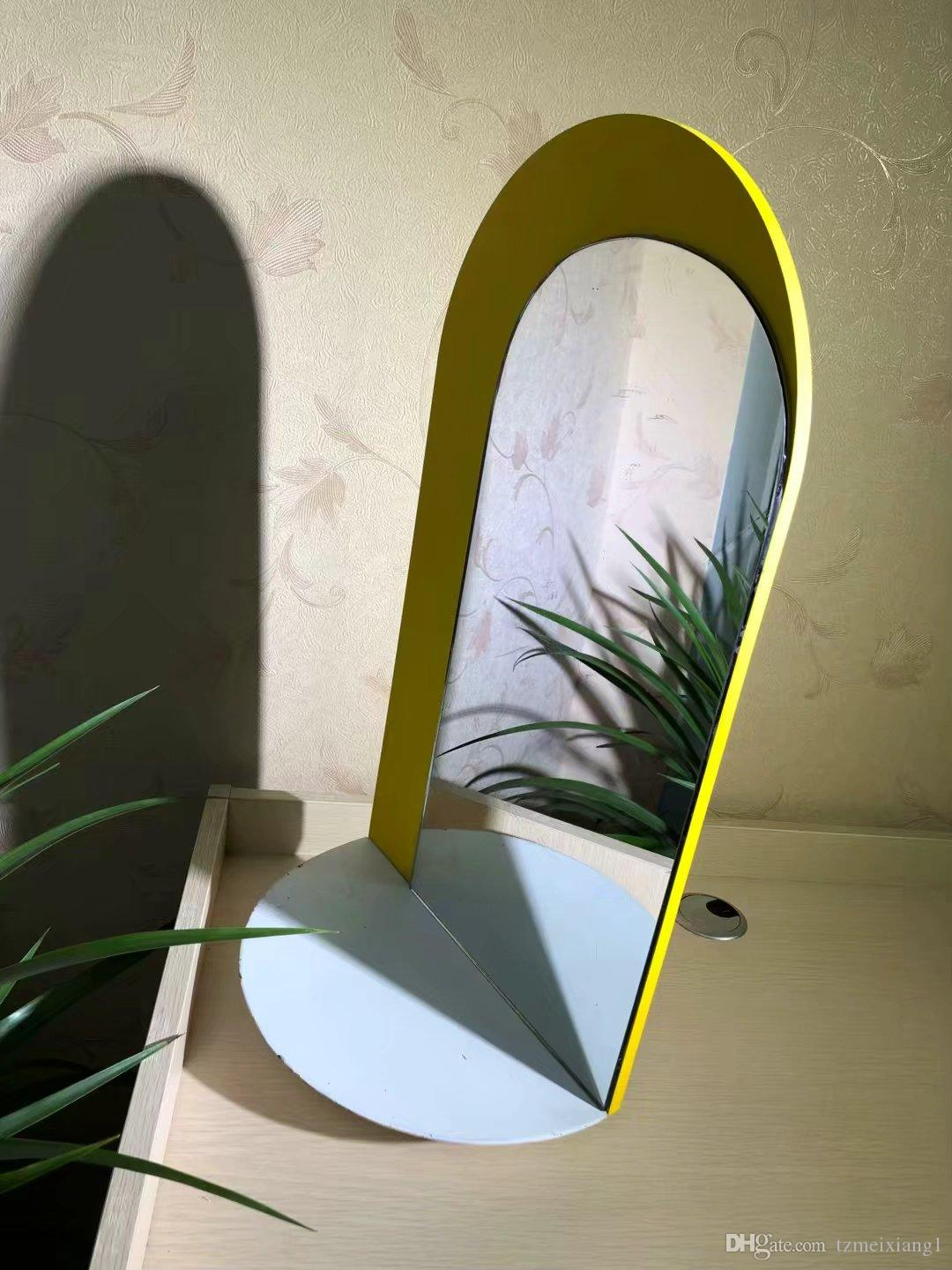 Yellow Oval Wooden Makeup Mirror Dressing Mirror