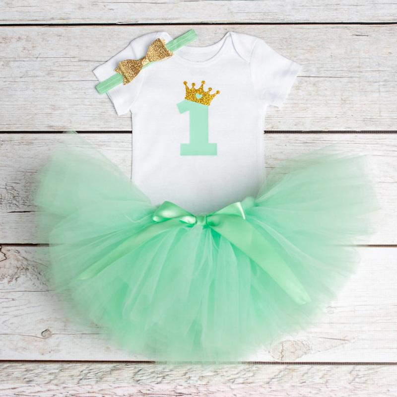 Baby Girl First Birthday Outfit Ensemble One Year Little Dress