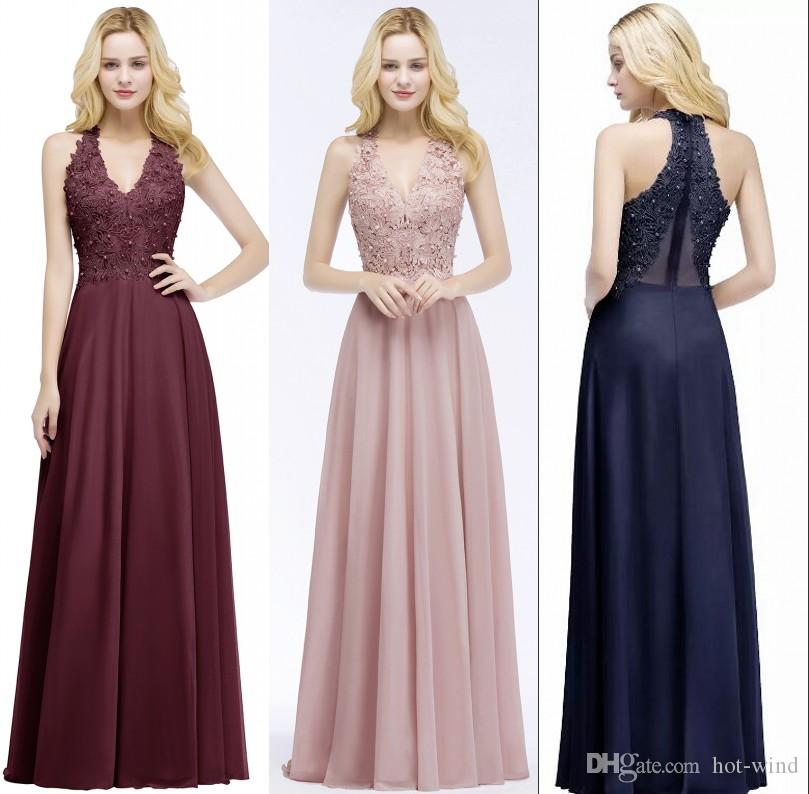 e896b477846 Pearl Pink Burgundy Lace Chiffon Prom Dresses Sleeveless A Line V Neck  Sequins Beaded Evening Dresses Floor Length Cheap Gowns CPS912 Cocktail  Evening ...