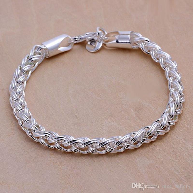 4b6b6ecd1c2f Pulsera de plata de ley 925 para hombres de las mujeres, 925 Joyería de  moda de plata Pulsera de cadena trenzada de 8 pulgadas Italia 2018 Regalo  de ...