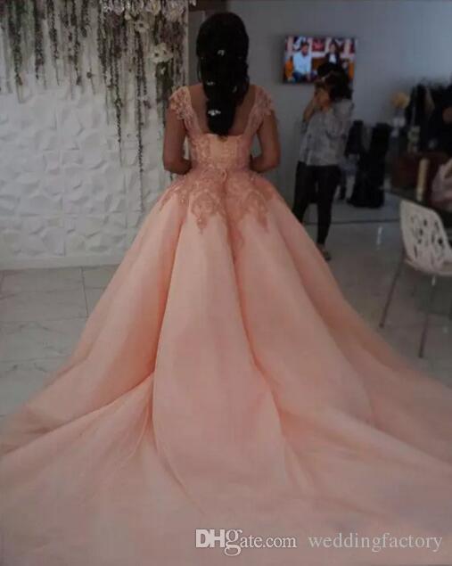 웨딩 드레스 아랍어 홍당무 핑크 볼 가운 웨딩 드레스 쉬어 스퀘어 넥 레이스 아플리케 얇은 명주 그물 신부 드레스 레이스 업 위로 사용자 정의 만든