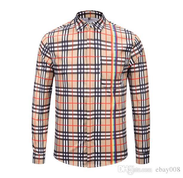 57772ef70 Compre Burr Marca De Lujo De Los Hombres De Negocios Camisa Casual Para Hombre  De Manga Larga A Rayas Slim Fit Camisa Masculina Social Camisas Masculinas  ...