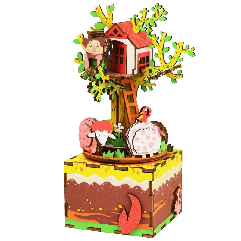 Robotime Diy Wooden Dollhouse 3d Cartoons Puzzle Rotatable With