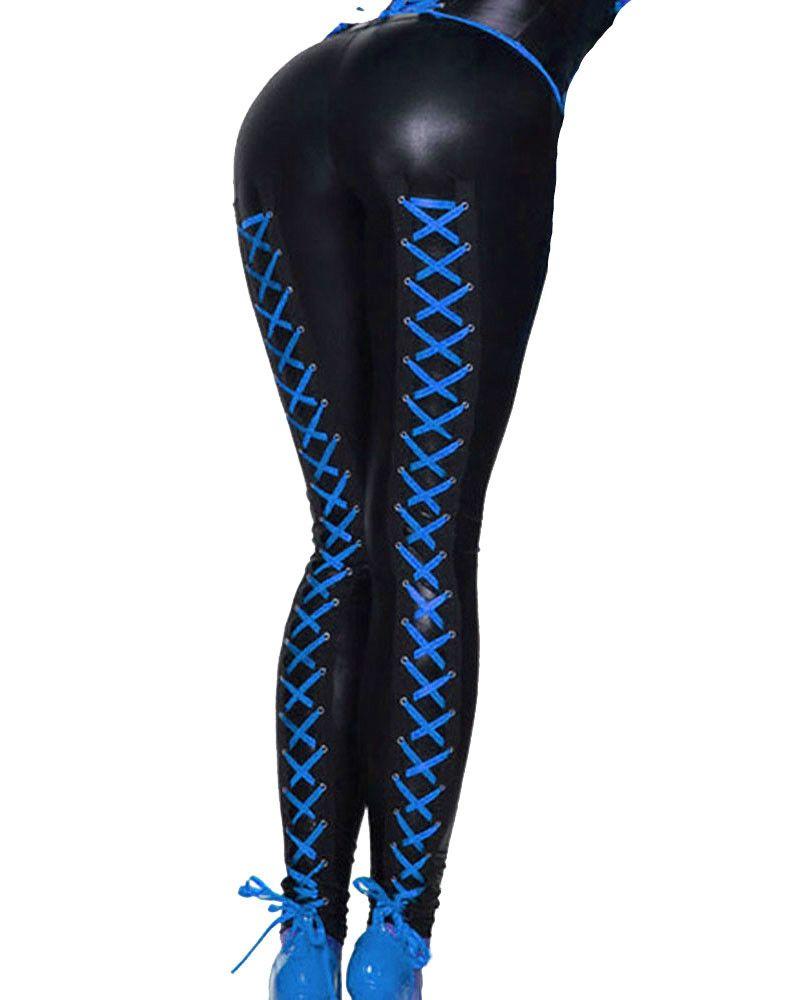 Multi Colors Women Leggings Fashion Lace Up Bodycon Pencil Pants Punk Faux Leather Leggings Sexy Night Club Dancing Clothes