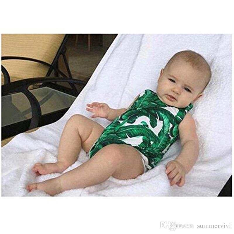 Baby little kids swimwear girls tree leaf printed spa beachwear women slim siamese swimming summer new family sea holiday swimsuits Y7052