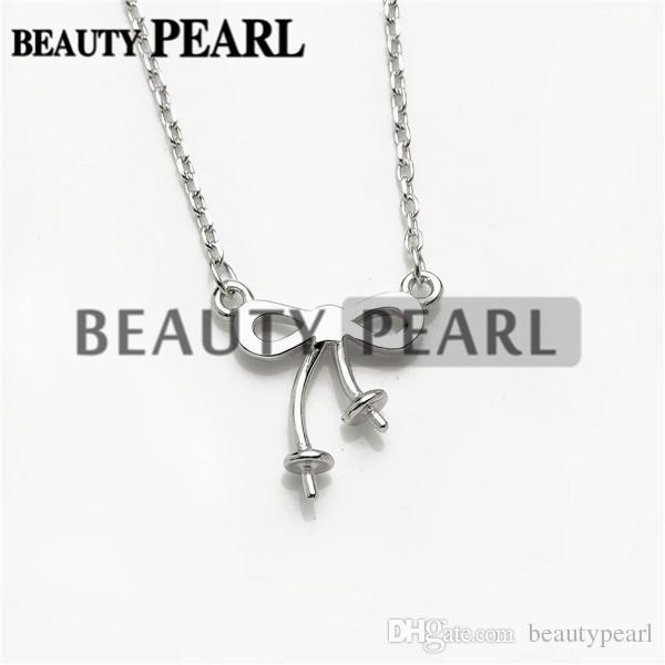 Bowknot Necklace Blank for Pearls Mounting 925 Sterling Silver Chain Base with 2 Blanks