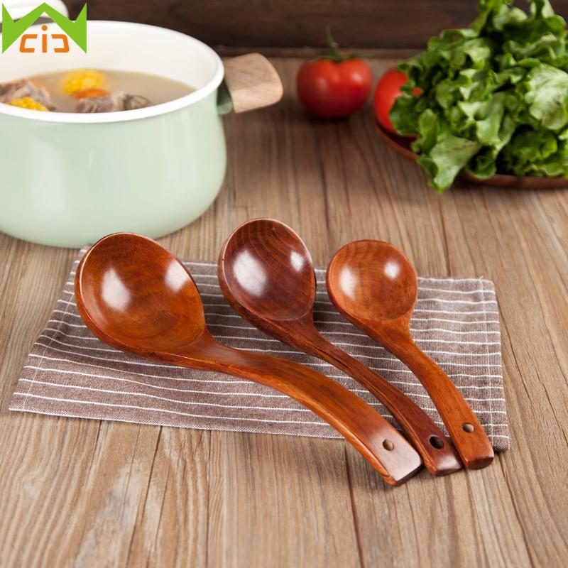 Wcic Handmade Wood Spoons Soup Ladle Nature Wooden Cooking Scoop Catering Tableware Long Handle Wooden Spoon Kitchen Utensils