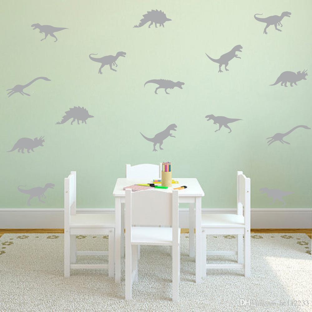 Cartoon Dinosaur Wall Stickers Wallpapers Vinyl Murals Waterproof Can Removable Nursery Kid's Room Living Room Background Decor