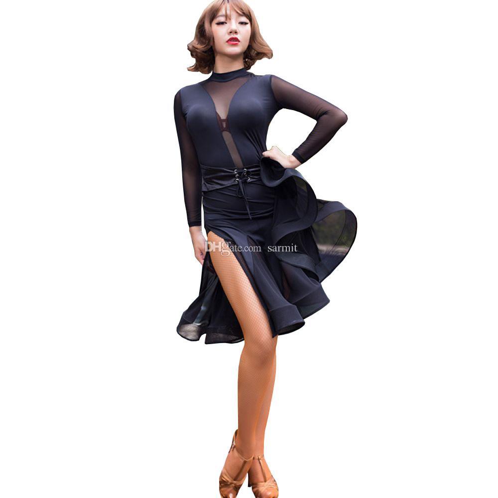 13cfcba6e Sexy Vestido de Dança Latina Mulheres Flapper Vestido de Salsa Tango  Vestido de Samba D0035 Patchwork com Renda Dividida Ruffled Hem Backless  Manga Comprida