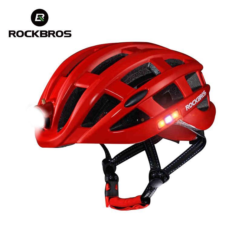 d2c0a3f2f1 Compre ROCKBROS Ciclismo Casco Bicicleta Ultraligero Casco Con Luz Integralmente  Moldeado Mountain Road Casco De Bicicleta Seguro Hombres Mujeres 49 62cm ...