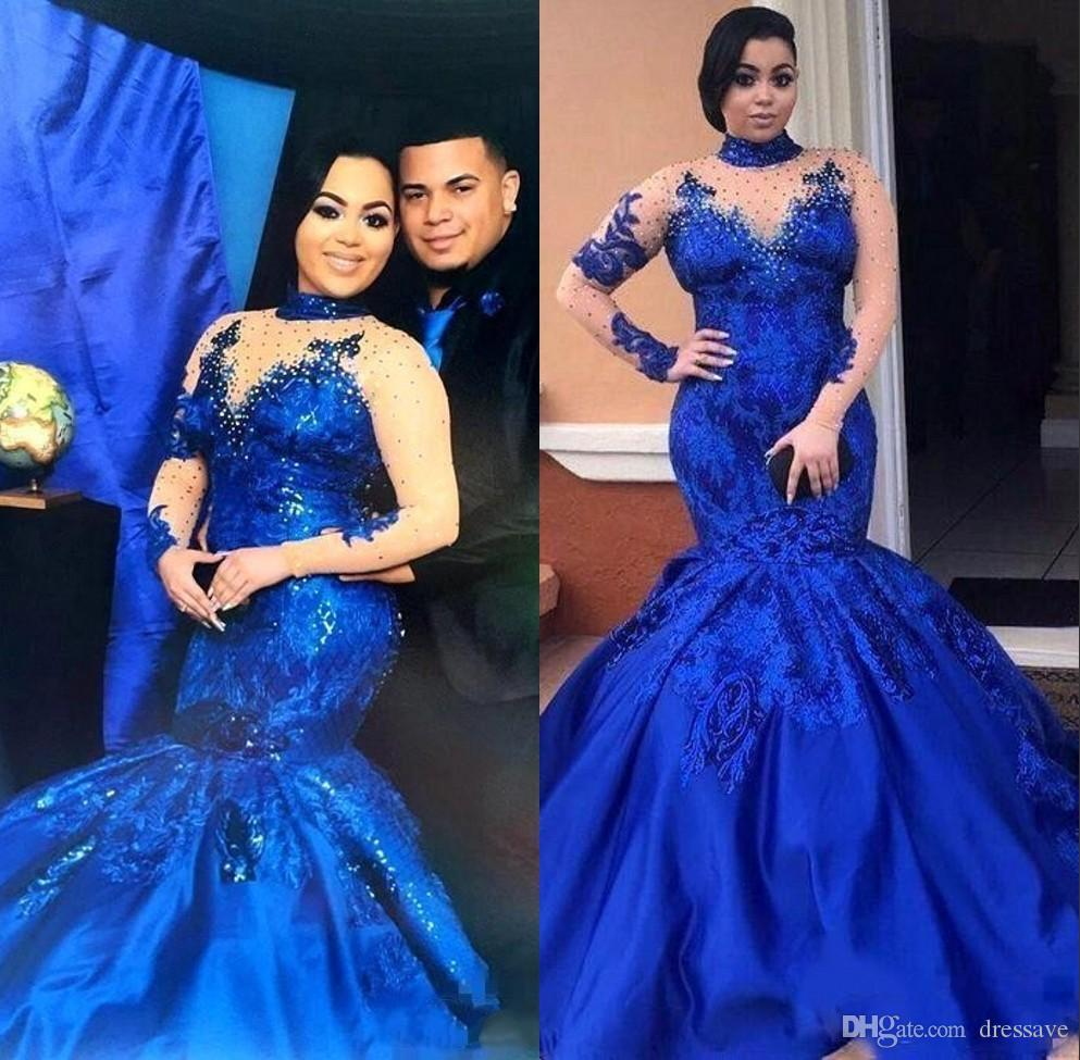 Saudi Arabia Royal Blue Plus Size Prom Dresses High Neck Mesh Mermaid Long  Sleeves Lace Appliques Evening Gowns