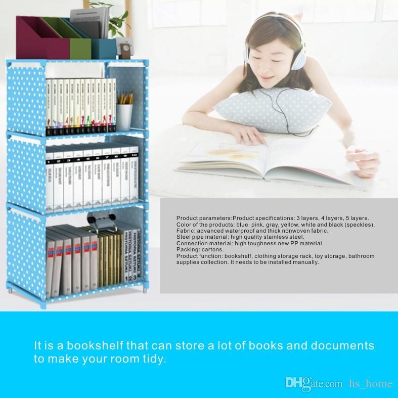 4 capas Storage Racks Librería estantería simple, tela no tejida impermeable avanzada, tubo de acero inoxidable grueso, es.