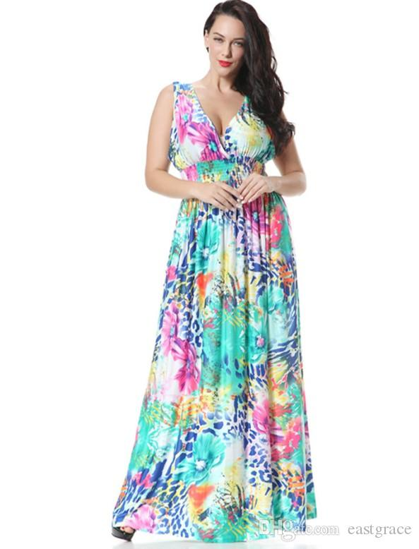 Bohemian Dresses Women Maxi and Plus Size Dress Flora Print Long Summer  Beach Resort Dresses XL-6XL