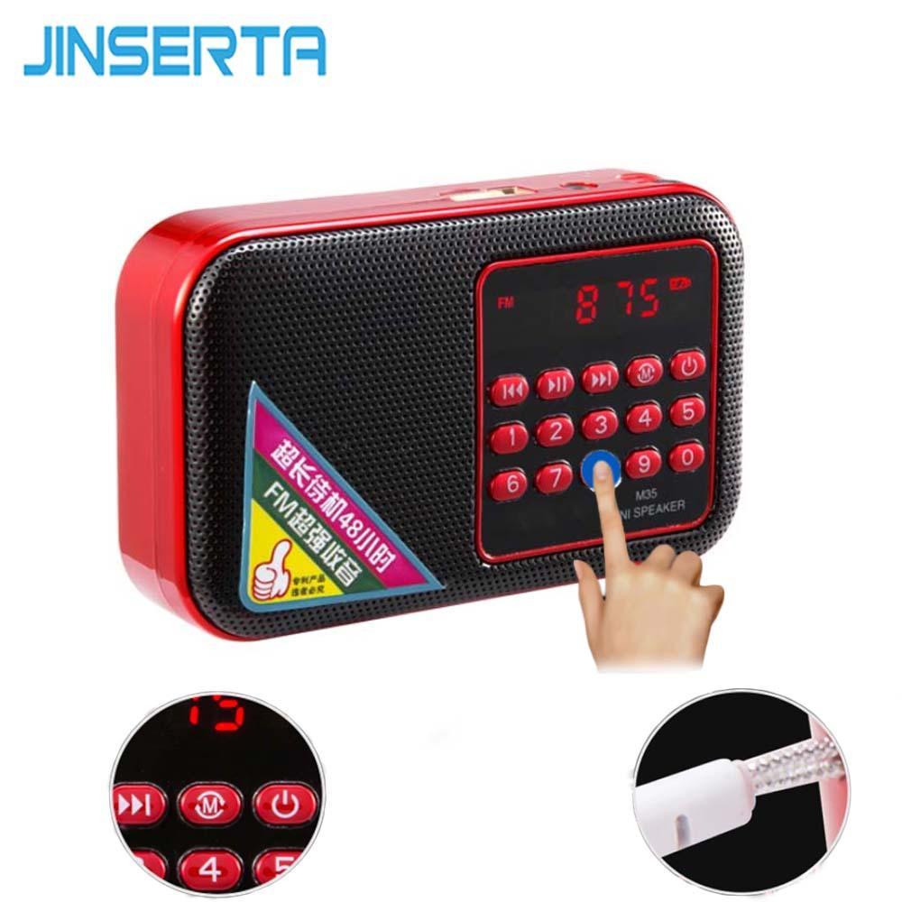 JINSERTA Mini FM Radio Portable Digital Radio Speaker Mp3 Music Player with  3 5mm Headphone Jack Support U Disk/TF Card Play