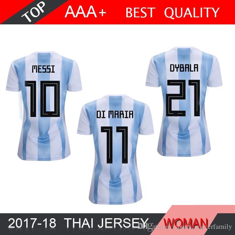 d84fba243 MESSI AGUERO DYBALA 2018 Argentina Camiseta De Fútbol Para Mujer HIGUAIN  ICARDI DI MARIA Camiseta De Fútbol Maradona Uniformes De Tailandia Por ...