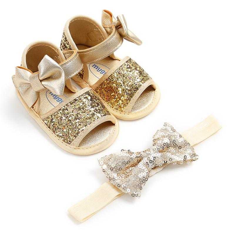 b2f998fc0d79 New Summer Bow Shining PU Infant Baby Girl Sabdals Hairband Set Silver Shoes  + Silver Hairband Shoes Comfortable Shoes Online Kids Cheap Kid Boots From  ...